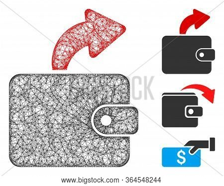 Mesh Spend Cash Polygonal Web 2d Vector Illustration. Carcass Model Is Based On Spend Cash Flat Icon