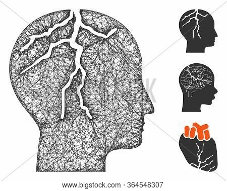 Mesh Brain Cancer Polygonal Web Icon Vector Illustration. Carcass Model Is Based On Brain Cancer Fla