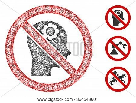 Mesh No Artificial Intelligence Polygonal Web Icon Vector Illustration. Model Is Based On No Artific