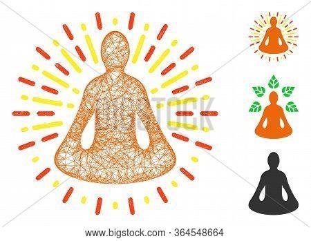 Mesh Yoga Meditation Polygonal Web Icon Vector Illustration. Model Is Created From Yoga Meditation F