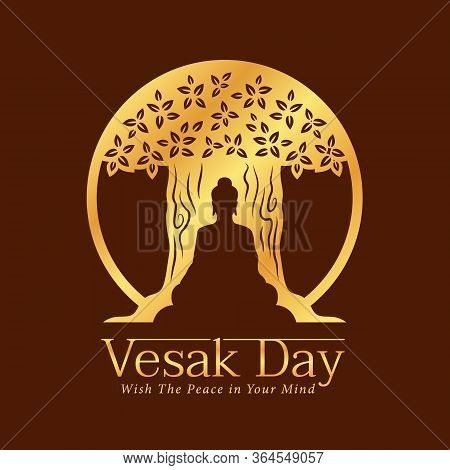 Vesak Day Banner With Gold Paper Cutting Buddha Sit Under Tree On Brown Background Vector Design