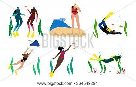 Set Of Young People In Masks Enjoying Snorkeling Underwater Vector Illustration