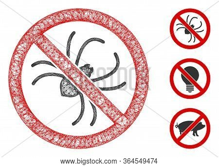 Mesh No Spider Polygonal Web Symbol Vector Illustration. Carcass Model Is Created From No Spider Fla