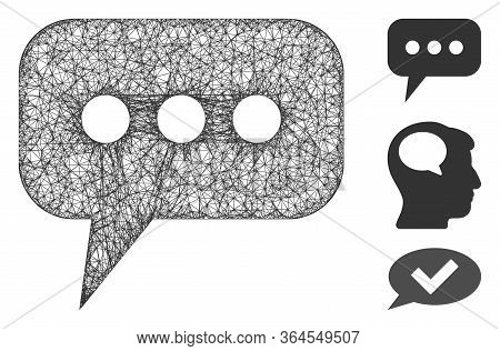 Mesh Opinion Cloud Polygonal Web Icon Vector Illustration. Model Is Based On Opinion Cloud Flat Icon