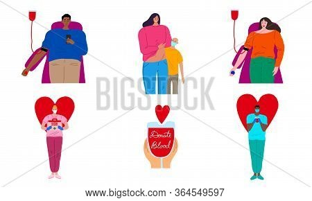 People Donors Donating Blood And Organs Vector Illustration