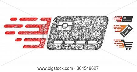 Mesh Express Banking Card Polygonal Web Icon Vector Illustration. Abstraction Is Based On Express Ba
