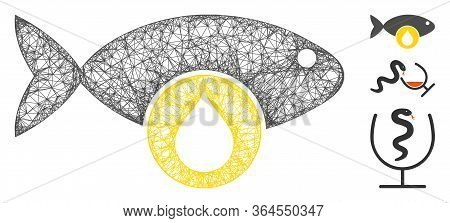 Mesh Omega 3 Oil Polygonal Web Icon Vector Illustration. Carcass Model Is Created From Omega 3 Oil F
