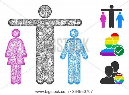 Mesh Bisexual Person Polygonal Web Icon Vector Illustration. Carcass Model Is Based On Bisexual Pers