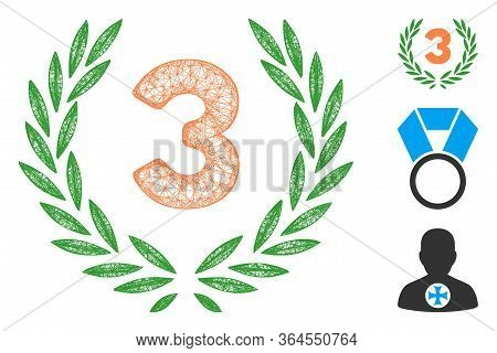 Mesh Third Laurel Wreath Polygonal Web 2d Vector Illustration. Carcass Model Is Based On Third Laure