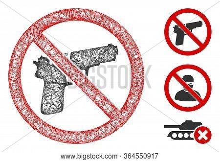 Mesh No Guns Polygonal Web Icon Vector Illustration. Model Is Based On No Guns Flat Icon. Triangular