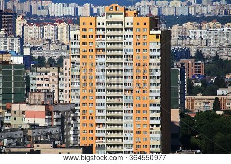 Kiev, Ukraine - April 02, 2017: Kiev (kyiv) From Above. New Modern High-rise Apartment Building Amon
