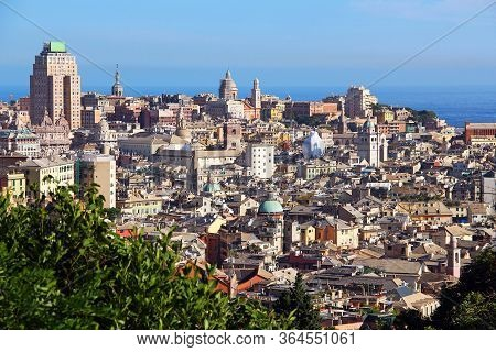 Aerial View Of Genoa Historic Center, Italy