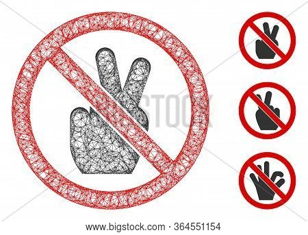 Mesh No Victory Gesture Polygonal Web Icon Vector Illustration. Carcass Model Is Created From No Vic