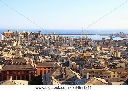 Aerial View Of Genoa Historic Center And Sea Port, Italy
