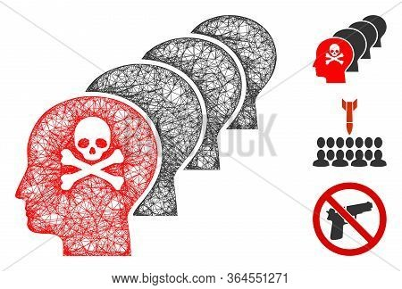 Mesh Kill All Humans Polygonal Web Icon Vector Illustration. Carcass Model Is Based On Kill All Huma
