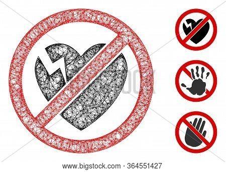 Mesh No Broken Heart Polygonal Web Icon Vector Illustration. Abstraction Is Based On No Broken Heart