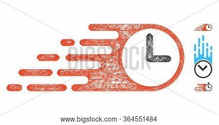 Mesh Rush Clock Polygonal Web Icon Vector Illustration. Abstraction Is Based On Rush Clock Flat Icon