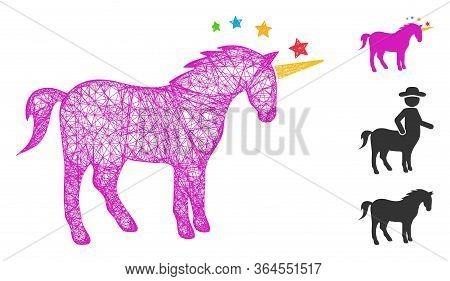 Mesh Unicorn Polygonal Web Icon Vector Illustration. Model Is Based On Unicorn Flat Icon. Triangle M