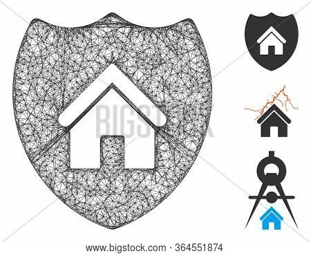 Mesh Realty Insurance Polygonal Web 2d Vector Illustration. Model Is Created From Realty Insurance F