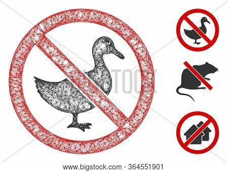 Mesh No Duck Polygonal Web Icon Vector Illustration. Carcass Model Is Based On No Duck Flat Icon. Tr