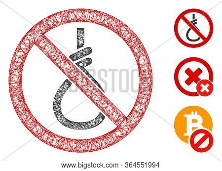 Mesh No Suicide Loop Polygonal Web Icon Vector Illustration. Carcass Model Is Created From No Suicid