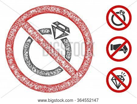 Mesh No Jewelry Polygonal Web 2d Vector Illustration. Carcass Model Is Based On No Jewelry Flat Icon