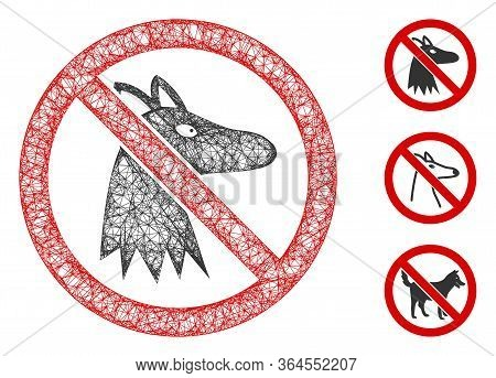 Mesh No Fox Polygonal Web Icon Vector Illustration. Carcass Model Is Based On No Fox Flat Icon. Tria