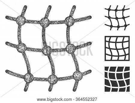 Mesh Grid Polygonal Web Symbol Vector Illustration. Model Is Based On Mesh Grid Flat Icon. Triangle