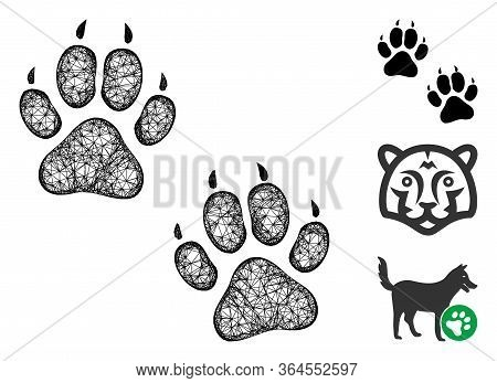 Mesh Tiger Footprints Polygonal Web Icon Vector Illustration. Model Is Created From Tiger Footprints