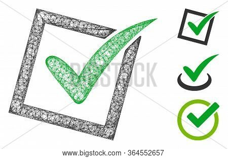 Mesh Yes Poll Polygonal Web Icon Vector Illustration. Carcass Model Is Based On Yes Poll Flat Icon.