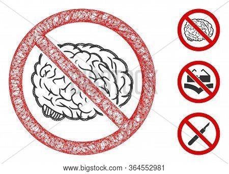 Mesh No Brain Polygonal Web Symbol Vector Illustration. Carcass Model Is Based On No Brain Flat Icon