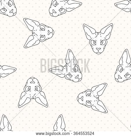 Cute Cartoon Monochrome Sphynx Cat Face Seamless Vector Pattern. Pedigree Exotic Kitty Lineart Breed