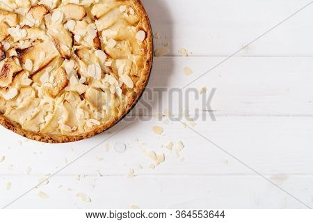 Apple Pie Confectionery Food Copy Space Top View Photography. Classic Appetizing Prepared Fruity Sug
