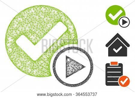 Mesh Start Of Validity Polygonal Web Icon Vector Illustration. Model Is Based On Start Of Validity F