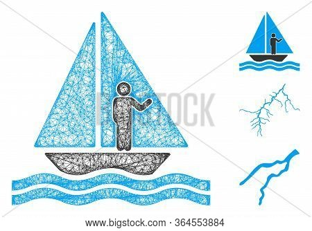 Mesh Aboard Yacht Polygonal Web Symbol Vector Illustration. Model Is Based On Aboard Yacht Flat Icon