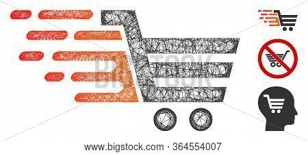 Mesh Rush Shopping Cart Polygonal Web Icon Vector Illustration. Model Is Based On Rush Shopping Cart
