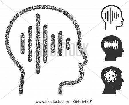 Mesh Sound Thinking Polygonal Web 2d Vector Illustration. Carcass Model Is Based On Sound Thinking F
