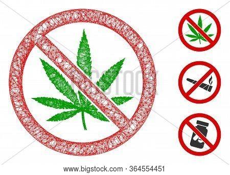 Mesh No Marijuana Polygonal Web 2d Vector Illustration. Carcass Model Is Based On No Marijuana Flat