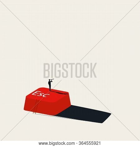 Escape Business Rat Race And Corporate World Vector Concept. Symbol Of Stressful Environment, Lookin