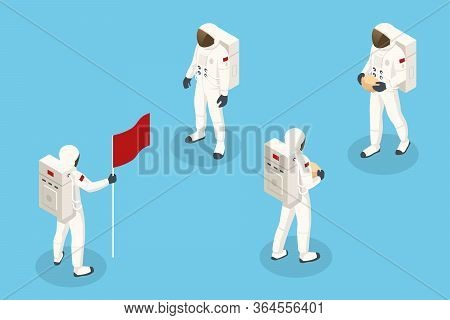 Isometric Set Of Astronaut Spaceman Isolated. Mars Colonization. Astronauts Explorers In Spacesuit F