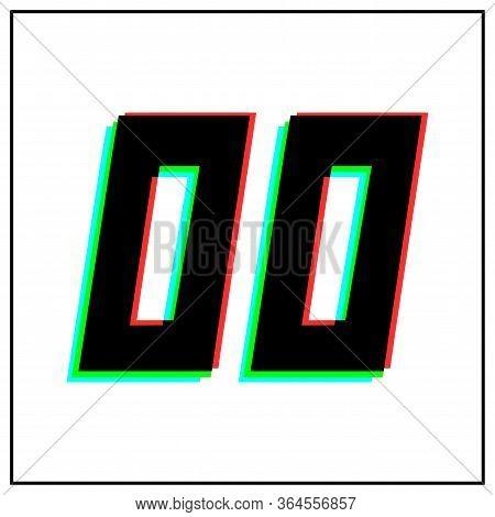 Number 00, Zero Vector Desing Logo.dynamic, Split-color, Shadow Of  Number Red, Green, Blue In Black