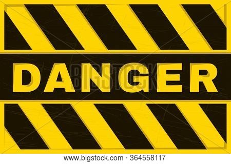 Danger Banner. Yellow And Black Safety Background. Worn And Grunge Warning Wallpaper