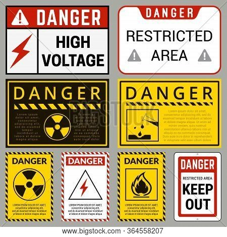 Danger. Safety Labels With Ability To Replace Text You Need. Various Embodiments Safety Banners. Vec