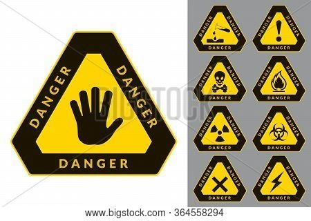 Warning And Danger. Triangular Icons. Set Of Road And Safety Signs. Vector Labels