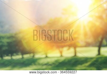Blur Nature Green Park With Bokeh Sun Light Abstract Background. Copy Space Of Travel Nature Adventu