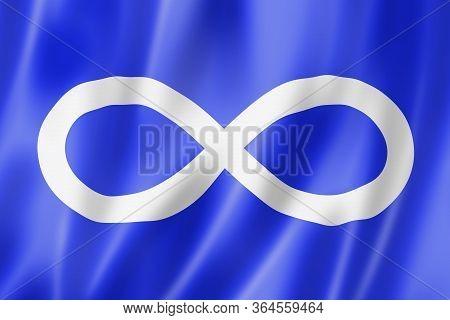 Franco Metis Ethnic Flag, America. 3d Illustration