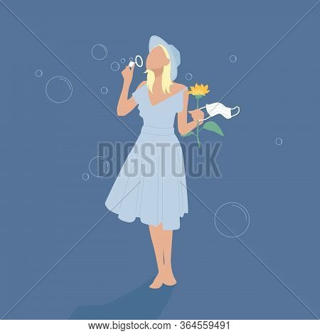A Happy Girl In A Blue Dress And Hat Blows Soap Bubbles, Holding A Flower And A Medical Mask. Illust