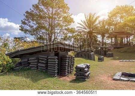 Old Bunker War Make Of Sandbag For The Military On The Mountain,tradition Place For Tourists At Khao