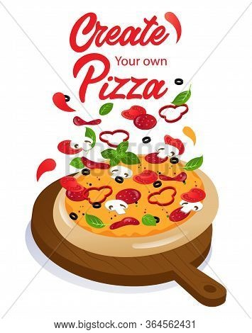 Advertisement Of Tasty Cheese Pizza With Ingredients On Wooden Food Stand. Possibility Of Making Piz