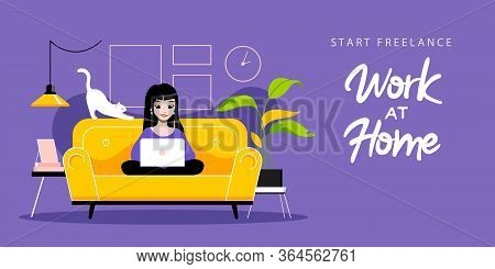Concept Of Freelance Remote Work. Freelancer Girl Typing On Laptop Sitting On Sofa. Remote Work And